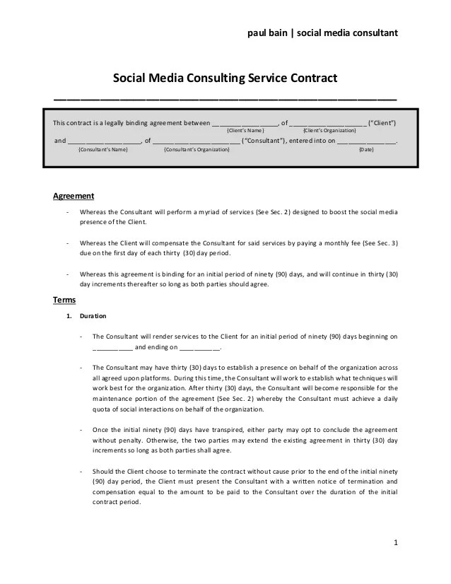 Sample Contract For Business Consulting Services  Sample Resume