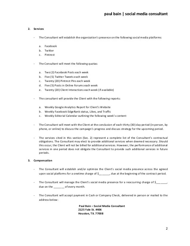 letter template sample form social media consulting services contract