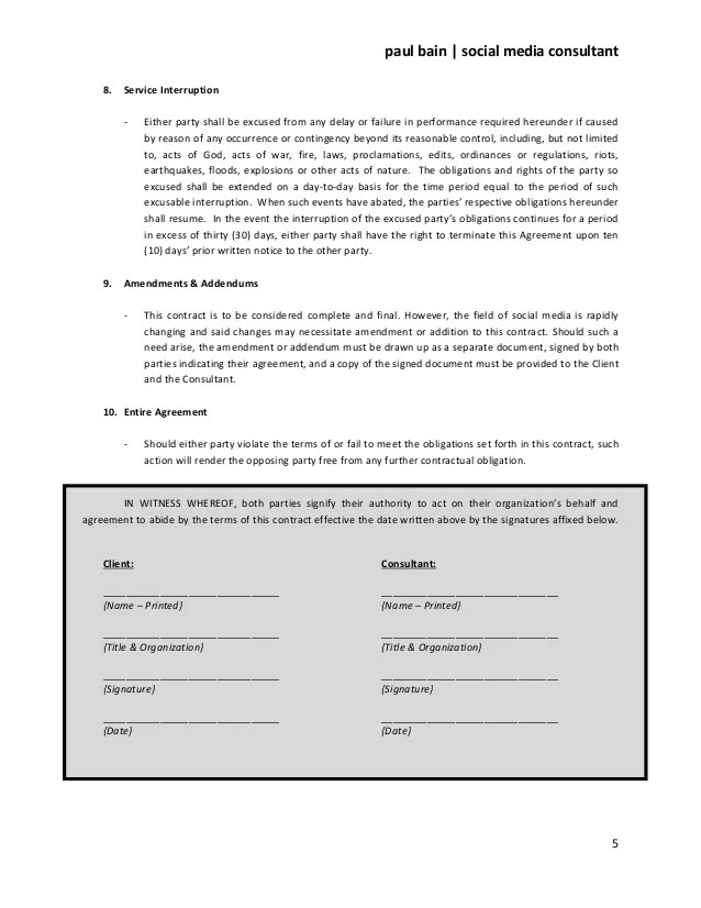 social media contract template - Josemulinohouse - Advertising Contract Template