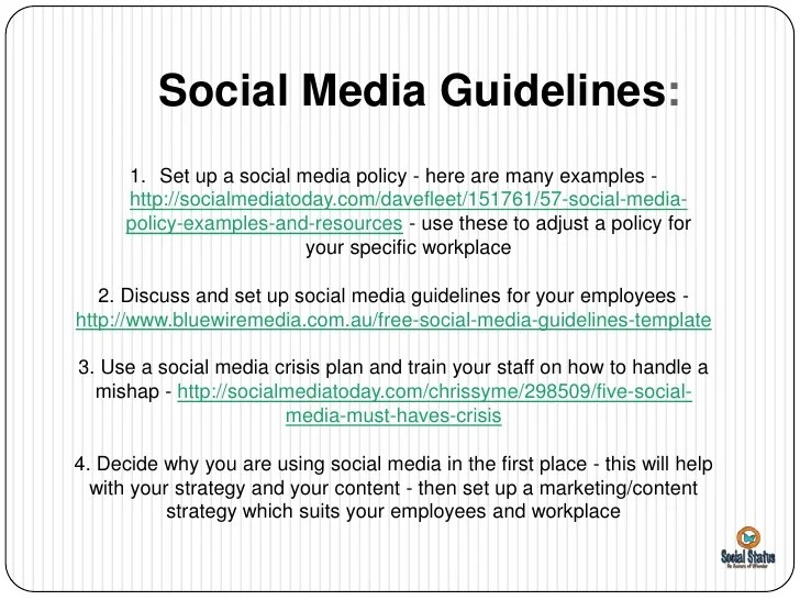 Social Media Guidelines On The Policy For Employees Using