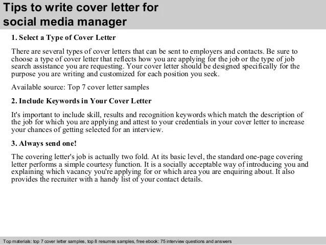 social media manager cover letter sample - Canasbergdorfbib