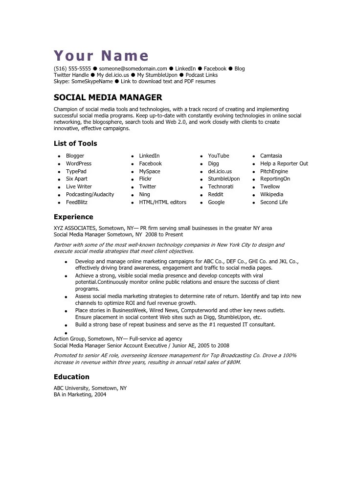 exemple resume cv social media manager
