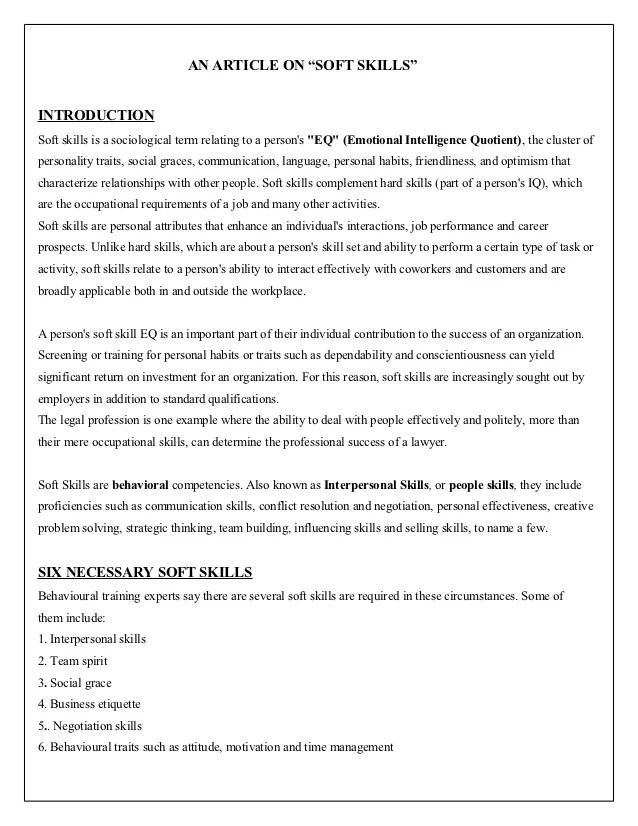 sample resume with soft skills