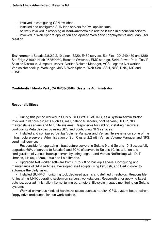 Valley Christian Schools San Jose Employment Vcs Solaris Linux Administrator Resume Nj