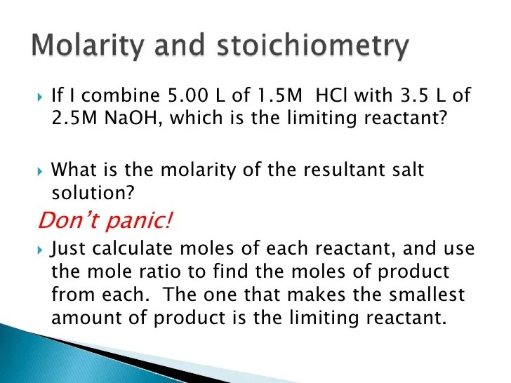 Comfortable Limiting Reactants Molarity And Solutions Worksheet Kidz