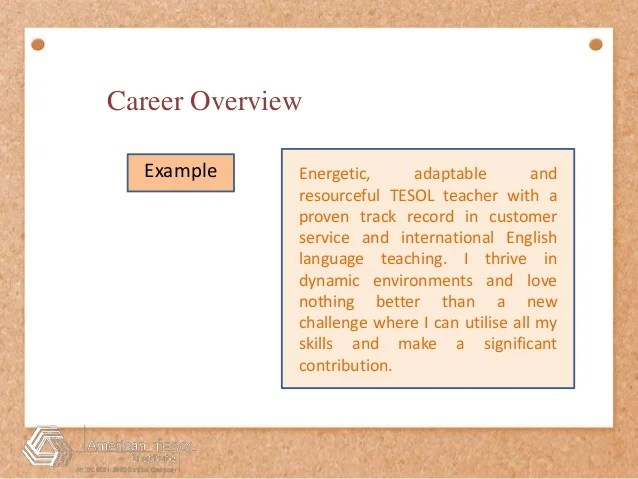 career overview example for customer service