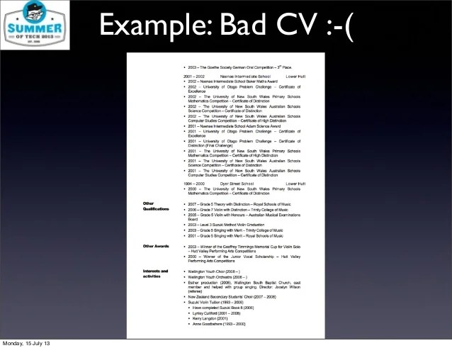 bad example of a cv - Onwebioinnovate - example of a bad resume