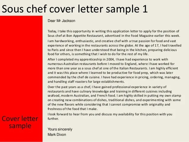 Sample Of A Chef Cover Letter Job Search Jimmy Sous Chef Cover Letter