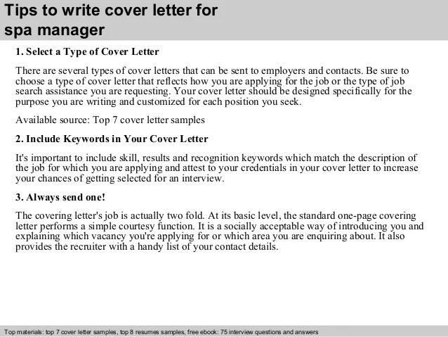 spa manager resume cover letter