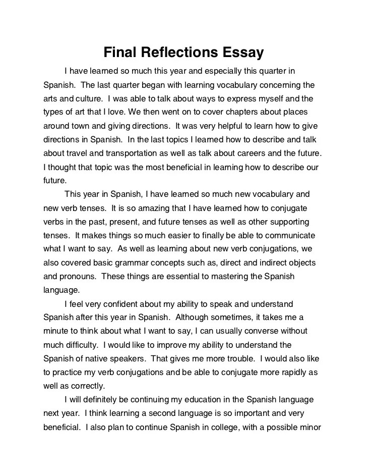reflection essay - Ozilalmanoof