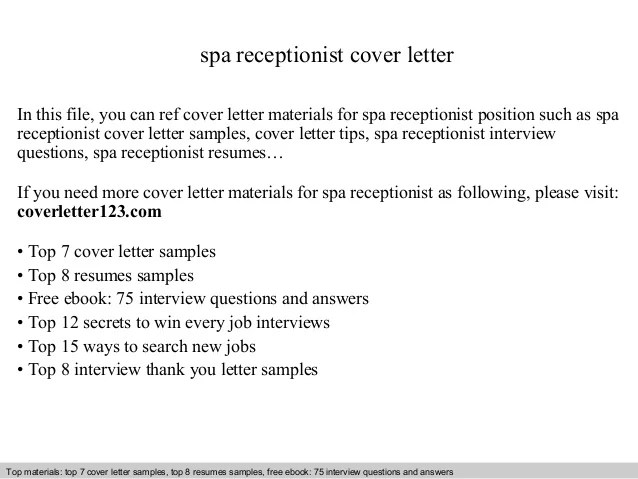 cover letter for spa receptionist - Ozilalmanoof - spa receptionist sample resume
