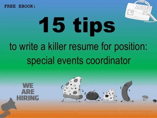 sample special events coordinator resume - Pinarkubkireklamowe