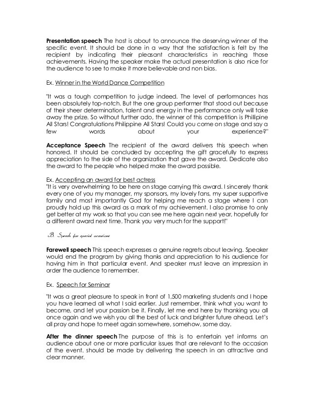 Award Acceptance Speech Template Good Format Of A Resume