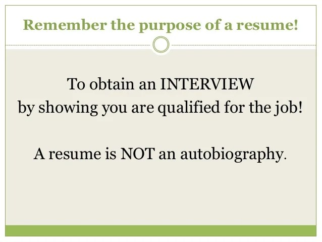 what is the purpose of a resume - Ozilalmanoof