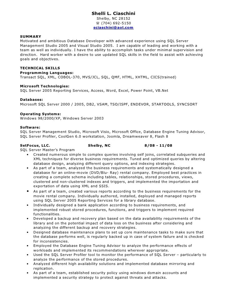 database programmer resume - Maggilocustdesign