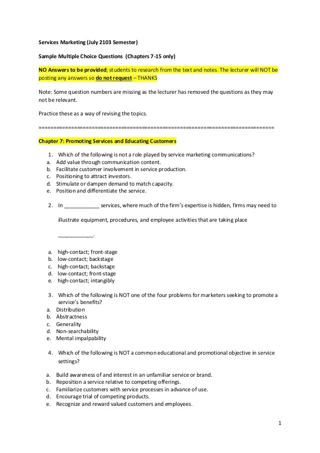 resume multiple choice questions