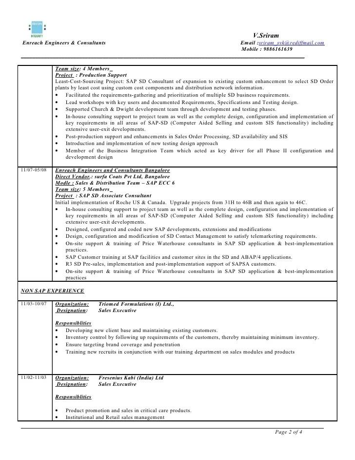 sap sd sample resumes - Onwebioinnovate