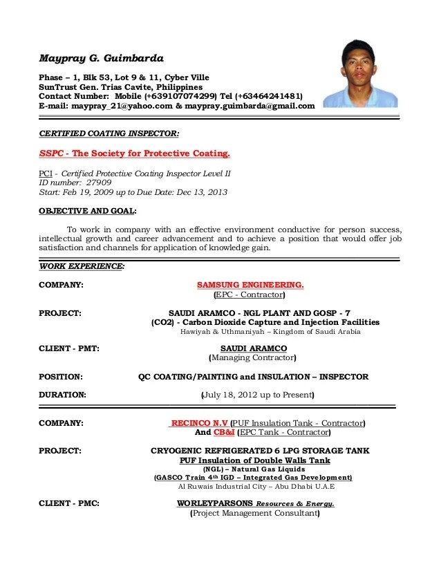 qc inspector resume format
