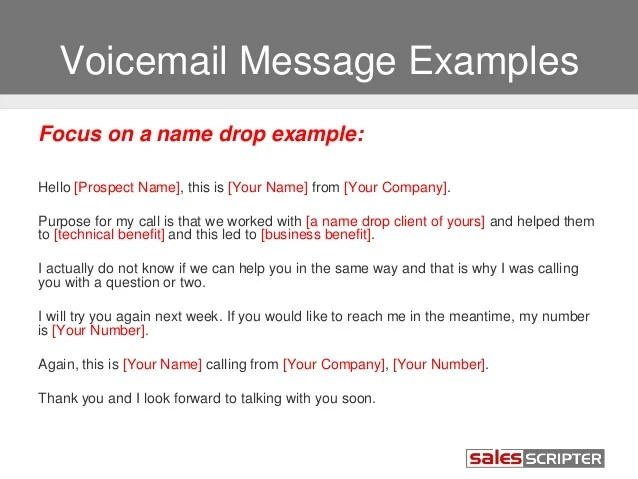 Sample Professional Voicemail Scripts | Professional resumes ...