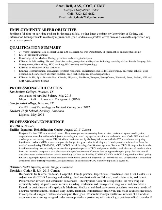 resume template for medical coder
