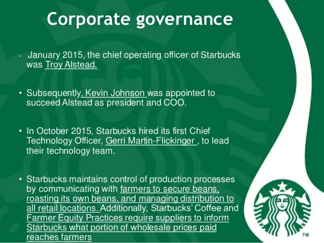 Wholesale Company Organizational Chart Starbucks Coffee