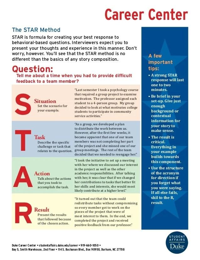 star method resume pdf