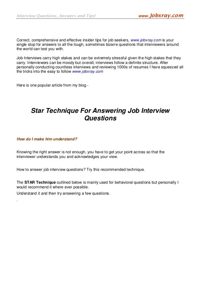star interview questions and answers - Josemulinohouse