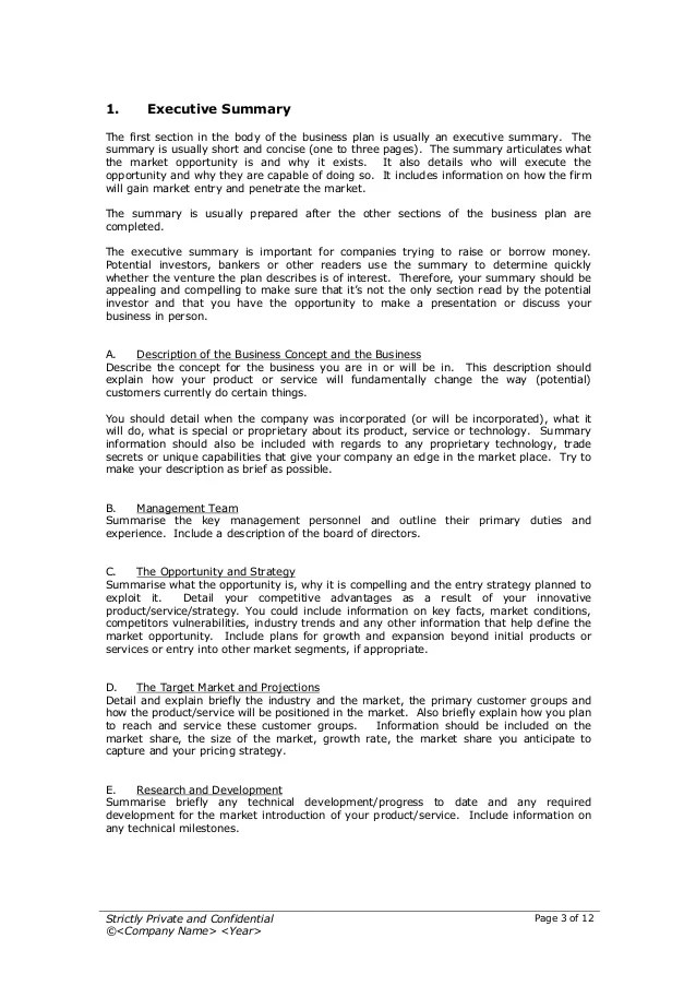 Doc730973 Executive Summary Outline Template Outline Template – Management Summary Template