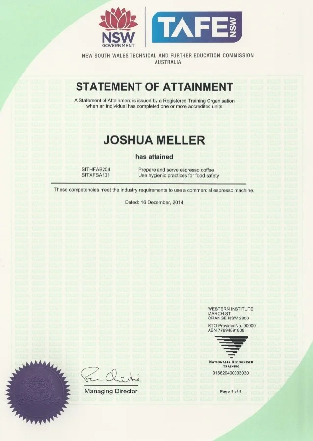 certificate of attainment template