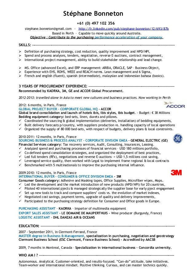 resume procurement specialist