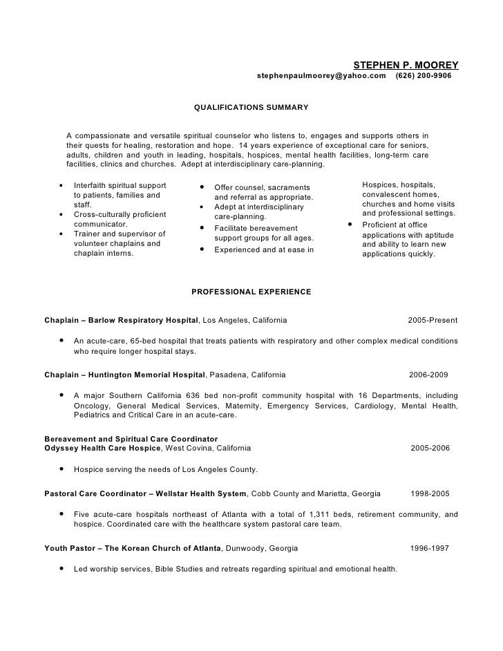 prison chaplain resume examples