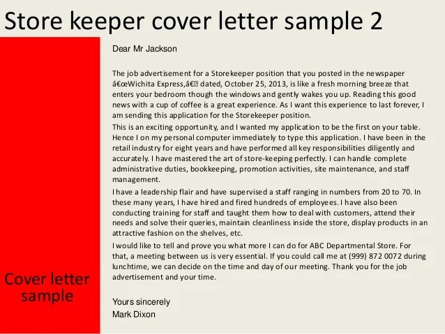 Sample Job Application In Response To Advertisement In Store Keeper Cover Letter
