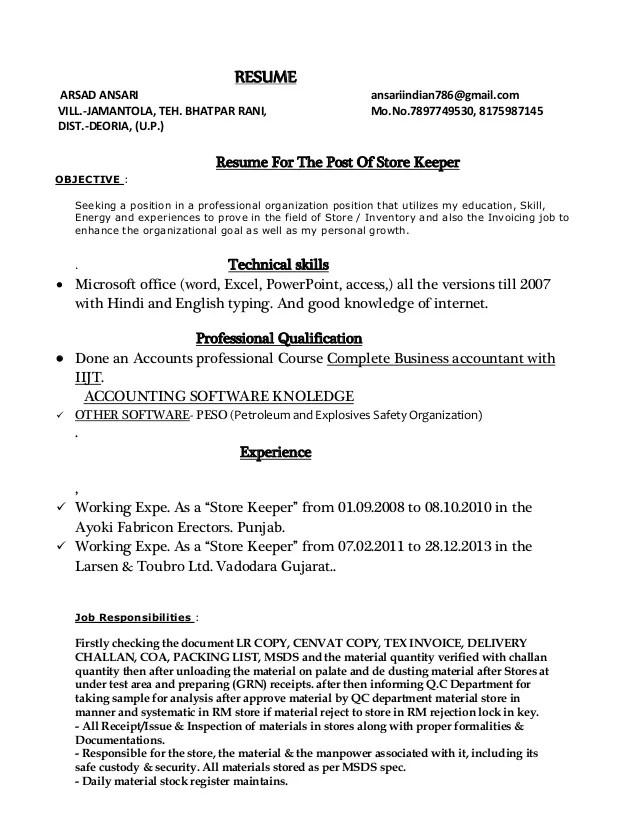 storekeeper resumes - Vatozatozdevelopment - store officer sample resume