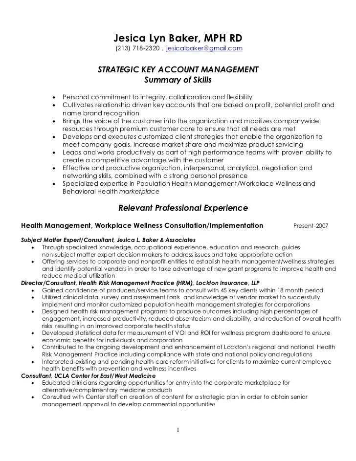 resume summary examples for risk management