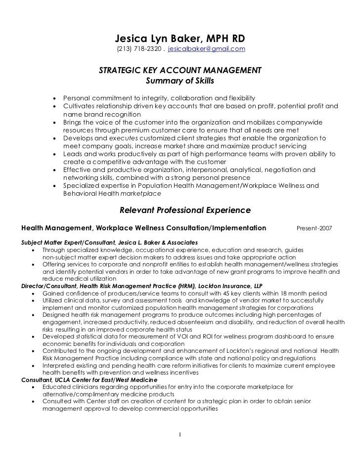 Operations Manager Resume Sample Strategic Key Account Management Resume 4 7 2011