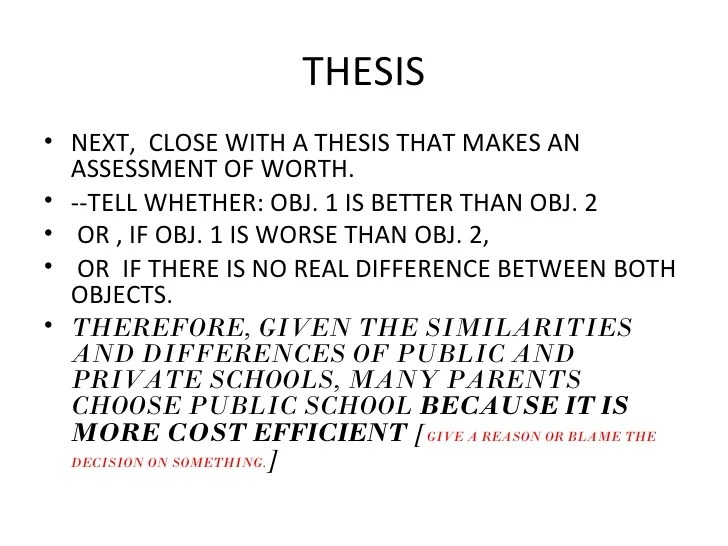How To Close A Compare And Contrast Essay Example