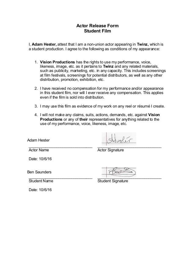 actor release form - Mersnproforum