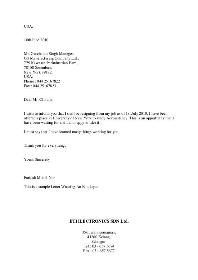 Resignation Letter Sample Simple Resignation Letter Styles In Business Letter