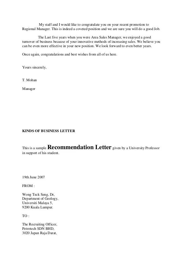 Letters Of Recommendation Styles In Business Letter