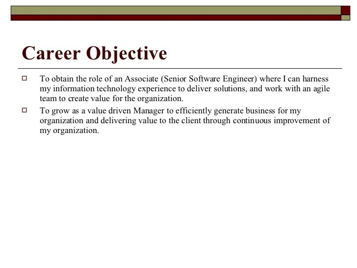 Objective In Resume For Experienced Software Engineer for software