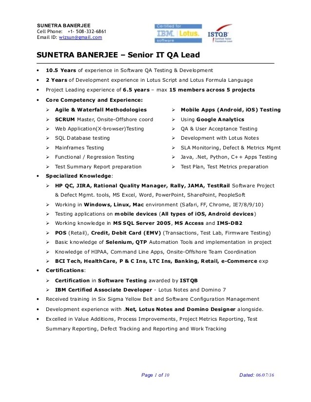 Engineer Resume Samples And Writing Tips For An Effective Sunetra Banerjee Sr Qa Engineer Project Lead Resume