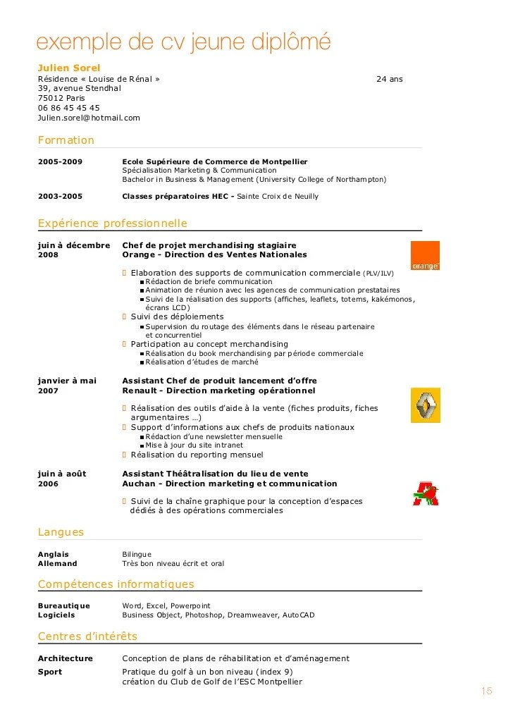 cv stage ecole de commerce