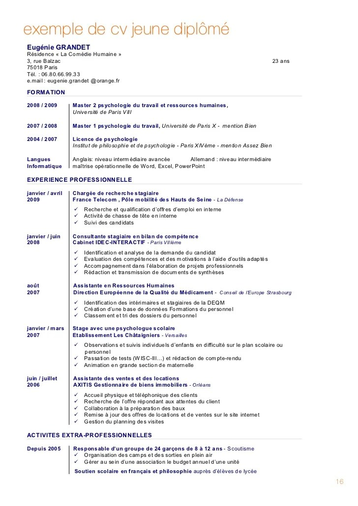 cv formation professionnelle exemple