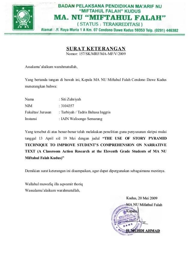 Surat Ijin Penelitian Skripsi Contoh Proposal Penelitian Slideshare Surat Keterangannomor 157skmrfma Mfv2009assalamu'alaikum