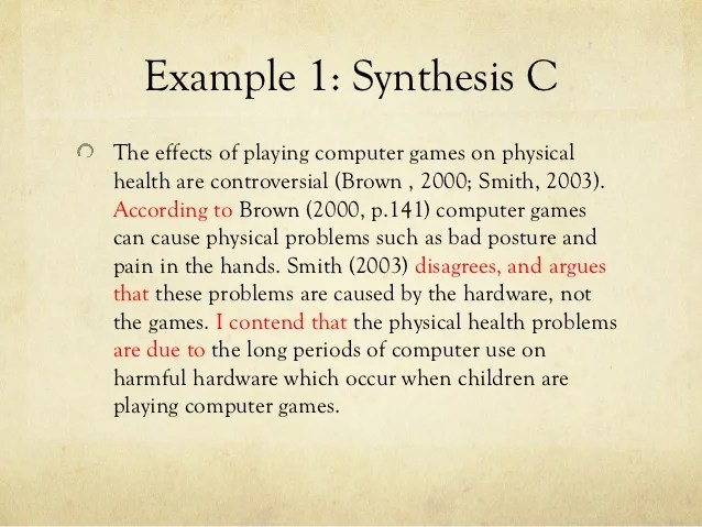 an example of a synthesis essay