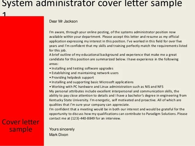 systems administrator cover letter examples - Onwebioinnovate