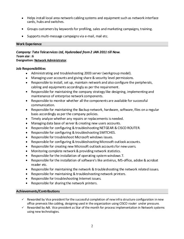 sample resume for system administrator pdf