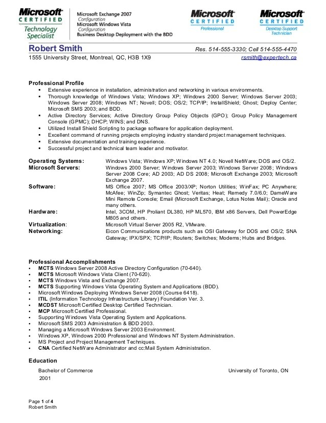 windows system administrator resume - Konipolycode