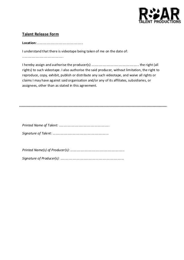 talent release form - Hizlirapidlaunch - Location Release Form