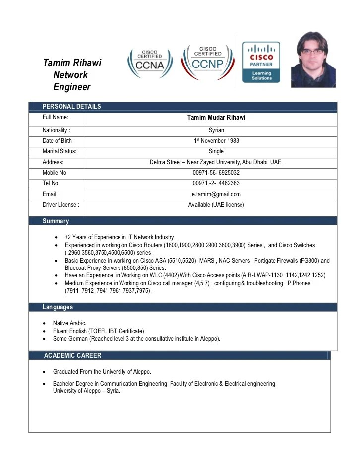 Sample Resume Format For Network Engineer | Free Cv Template Modern
